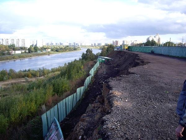 оползень в москве. крупный оползень