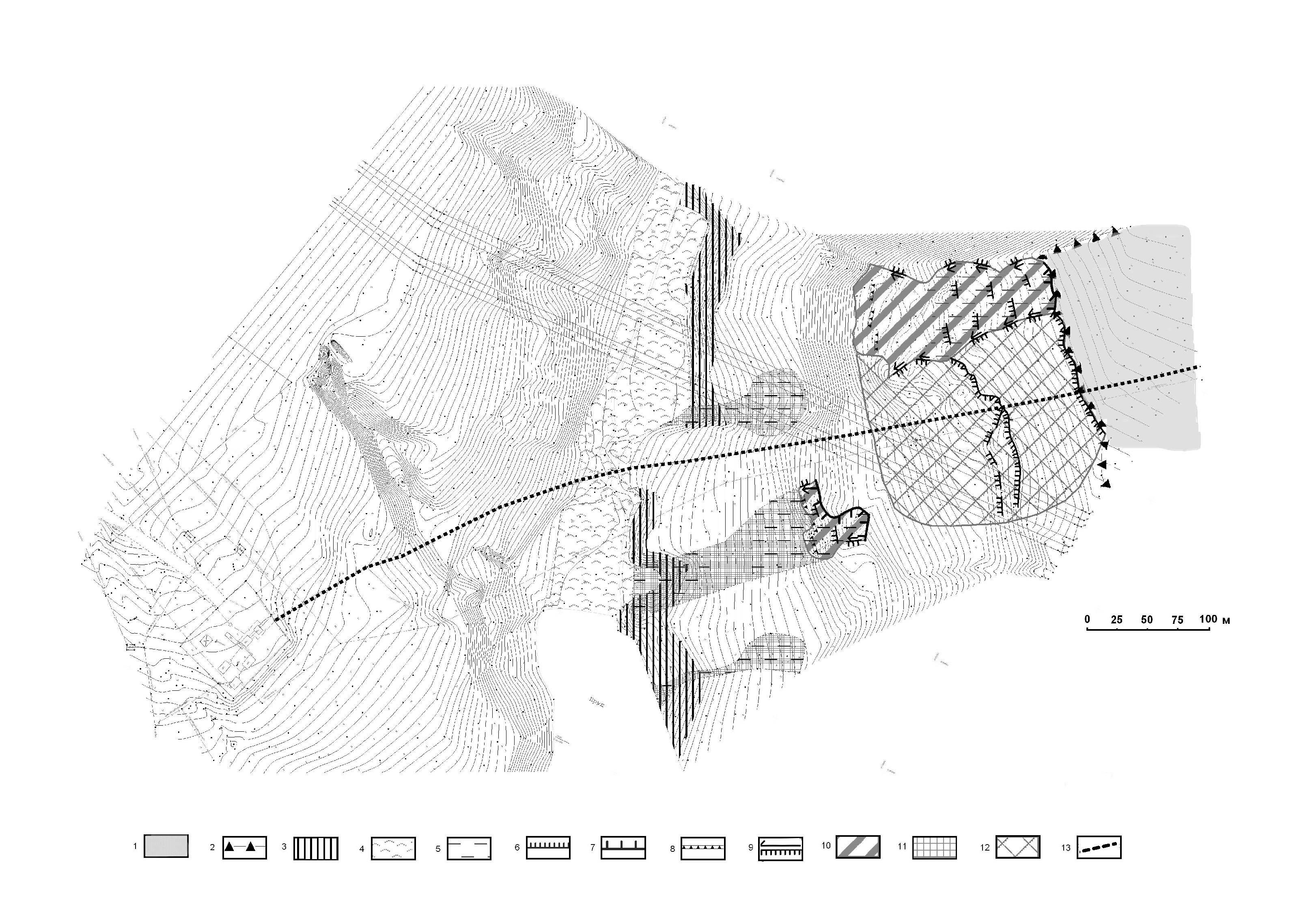 Схематическая карта развития оползневых деформаций на объекте Чиганары