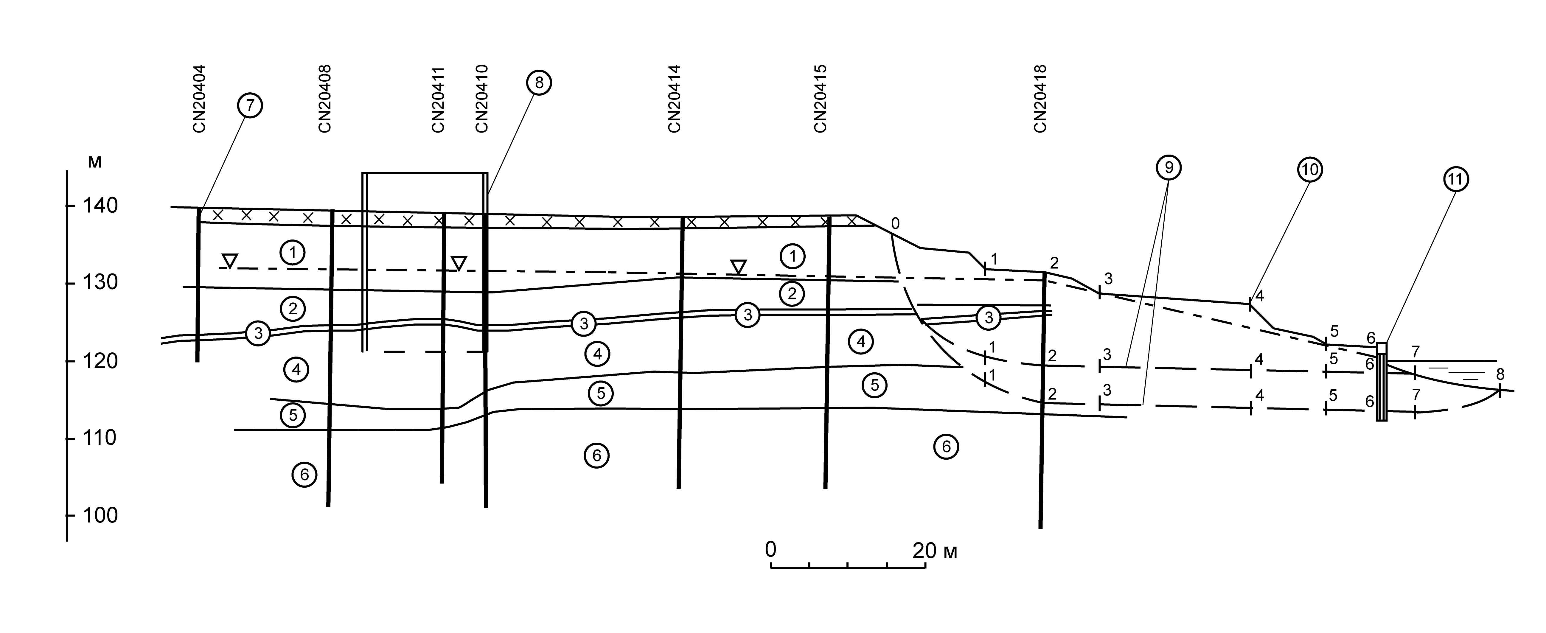 Схематический инженерно-геологический разрез по створу буровых скважин