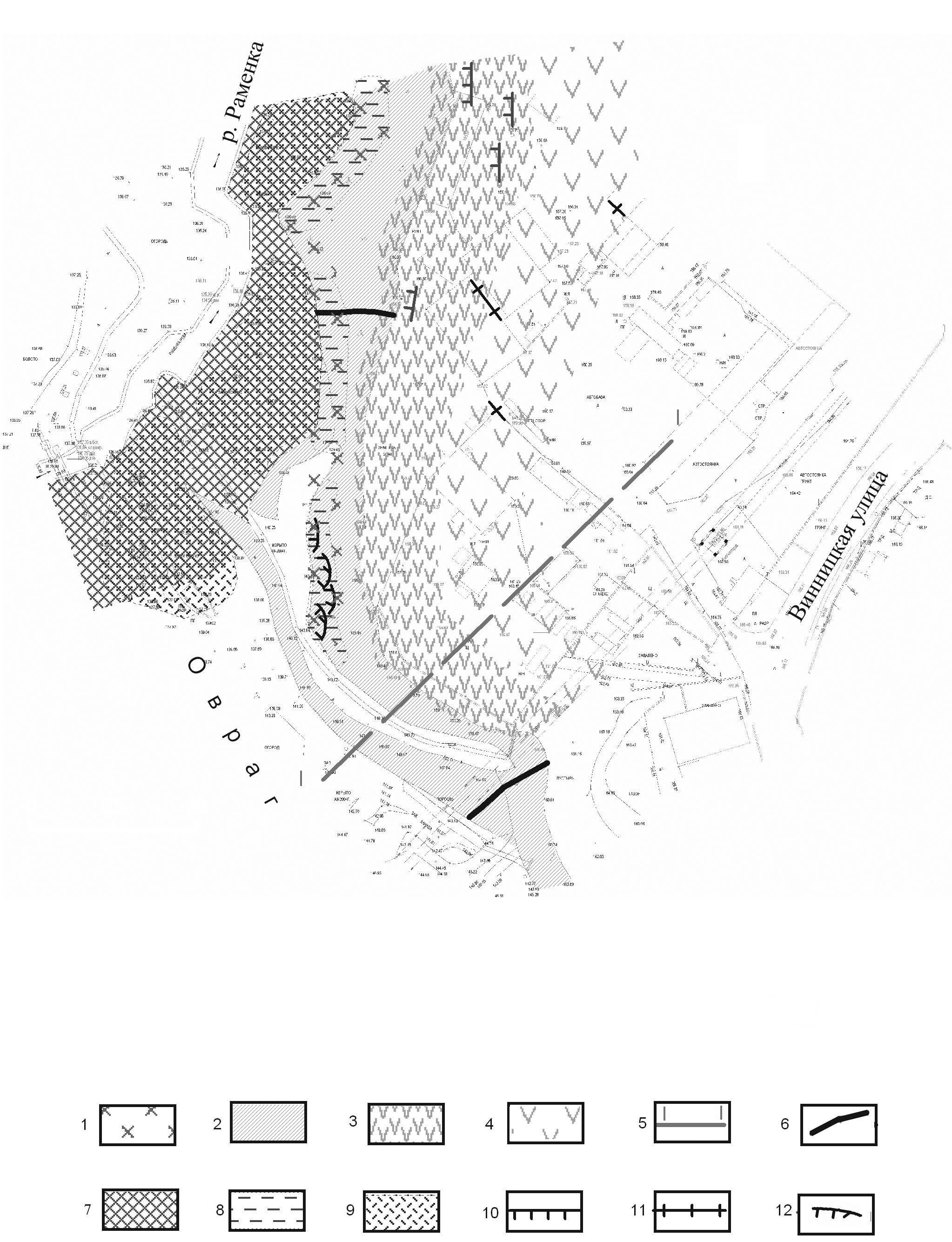 Карта развития деформаций на участке проектируемых очистных сооружений (р. Раменка, ул. Винницкая, г. Москва)