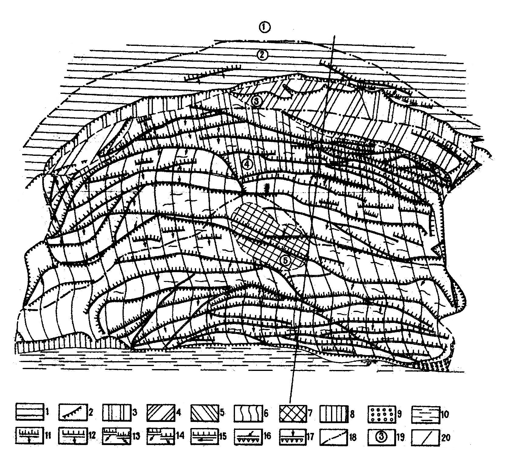 4 Карта оползневых деформаций на участке Жуковка с выделением «бугра сжатия» [1].